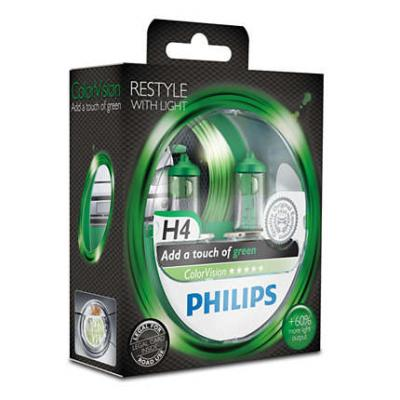 PHILIPS COLORVISION GREEN +60% H4 12V 60/55W,