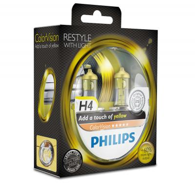 PHILIPS COLORVISION YELLOW +60% H4 12V 60/55W,
